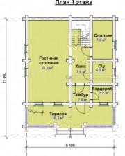 Проект Юхоть - План 1 этажа